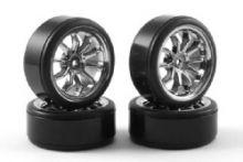 Fastrax 10-Spoke Drift Wheel & Tyre Set (4) - Chrome