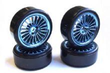 Fastrax 20-Spoke Drift Wheel & Tyre Set (4) - Blue